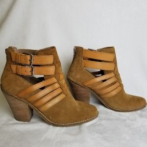 Dolce Vita Tan Suede Strappy Buckle Booties